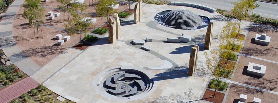 Public plaza tells a story stanley consultants for Interactive landscape design