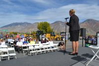 Gayle Roberts of Stanley Consultants speaks at Westside Connector Ribbon Cutting.jpg